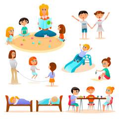 Kindergarten Characters Flat Icons Set