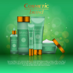 Vector 3D cosmetic illustration on a soft light blurred background with bokeh. Beauty realistic cosmetic product design template.
