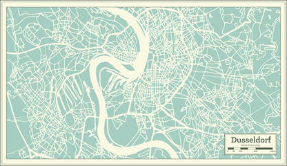 Dusseldorf Germany City Map in Retro Style.