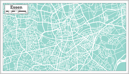 Essen Germany City Map in Retro Style. Outline Map.