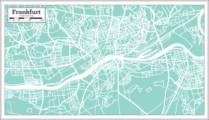 Frankfurt Germany City Map in Retro Style.