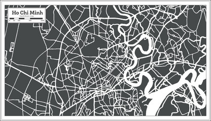 Ho Chi Minh Vietnam City Map in Retro Style. Outline Map.