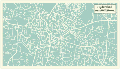 Hyderabad India City Map in Retro Style. Outline Map.