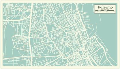Palermo Italy City Map in Retro Style. Outline Map.