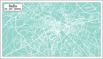 Sofia Bulgaria City Map in Retro Style. Outline Map.