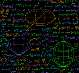 Math vector seamless pattern with multicolored plots, equations, formulas, geometrical figures and calculations. Endless scientific texture. You can use any color of background