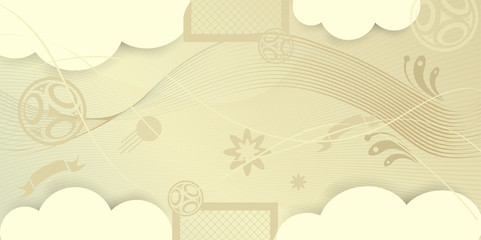 Welcome to Russia abstract beige color invitation, ticket, poster with Russian folk art elements, sports, football, symbols and soccer ball, stars, fireworks, world pattern vector concept.