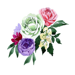 Bouquet flower in a watercolor style isolated. Full name of the plant: rose, hulthemia, rosa. Aquarelle wild flower for background, texture, wrapper pattern, frame or border.