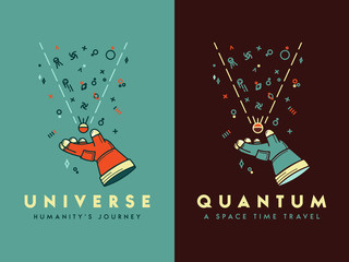 Space universe humanity's journey vector illustration for any use