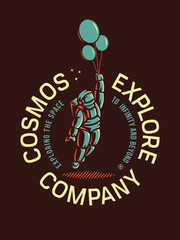 Cosmos exploration company illustration depicting a spaceman with balloons