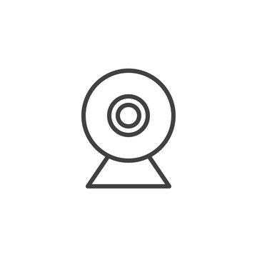 Webcam line icon, outline vector sign, linear style pictogram isolated on white. Web camera symbol, logo illustration. Editable stroke