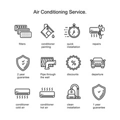 Air conditioner service. Line icons two pixels stroke