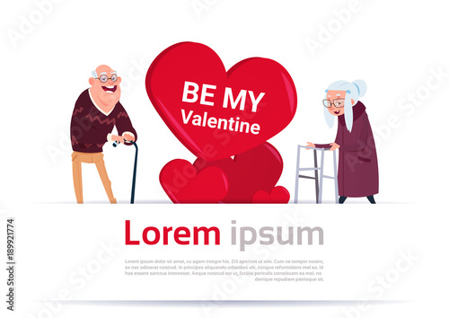 elderly man and woman over heart shape with copy space senior couple