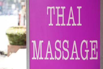 pink thai massage sign