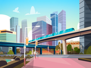 Modern City Panorama With High Skyscrapers And Subway Cityscape Background Flat Vector Illustration Fotomurales