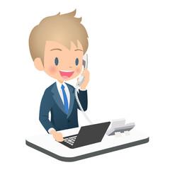 電話対応するスーツ姿の若い男性ビジネスマン