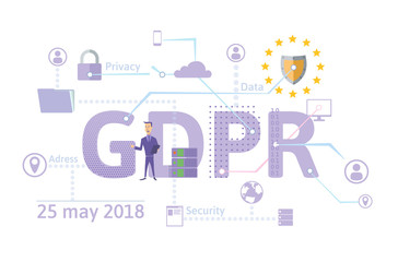 GDPR concept illustration. General Data Protection Regulation. The protection of personal data. Vector, isolated on white background.