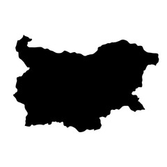 black silhouette country borders map of Bulgaria on white background of vector illustration