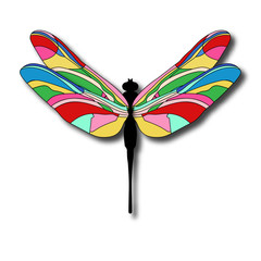 Funny cartoon illustration of dragonfly. Bright Dragonfly flutters.