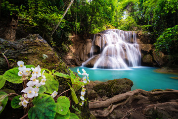 Wall Murals Waterfalls Waterfall in Thailand, called Huay or Huai mae khamin in Kanchanaburi Provience