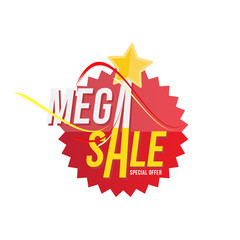 Red sticker and star with mega sale discount. Template of the emblem with special offer flat vector eps 10