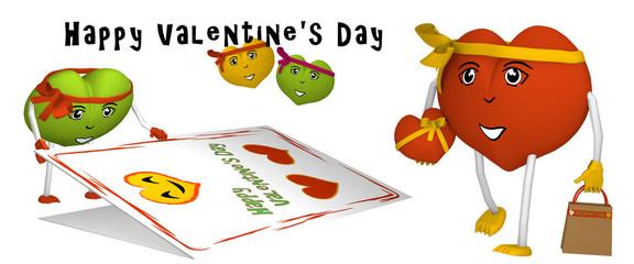 Valentinstag Banner mit niedlichen Herzchen und text. 3d render