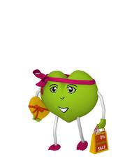 niedliches grünes Herz mit Einkaufstüte. 3d render