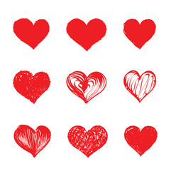 Heart set grunge love red vector collection hand drawing brush