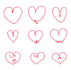 Heart arrow set love valentines day line