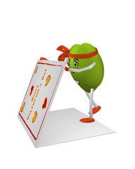 niedliches Herz-Emoticon öffnet eine große Valentinskarte. 3d render