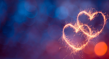 Festive Blue Red background with glowing hearts