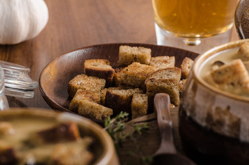Rustic mushrooms soup