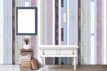 Mockup white table with pastel color wooden wall