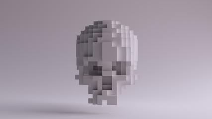 White Skull made of Cubes 3d illustration