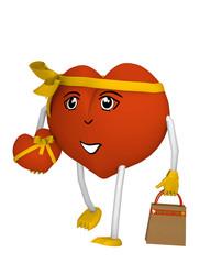 orangefarbenes Herz mit niedlichem Gesicht, Einkaufstüte und Geschenk. 3d render