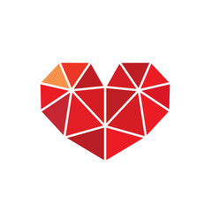 Low Poly Style Heart Love Symbol.