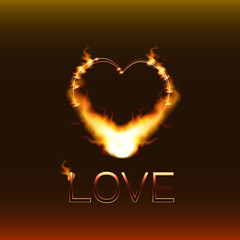 """Heart on a dark background, burning on the contour of the flame and the inscription """"love."""""""