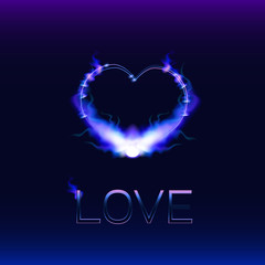 "Heart on a blue background, burning along the contour with a blue flame and the inscription ""love""."
