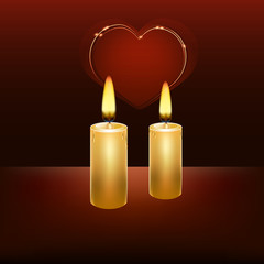 Two burning candles on a dark background, heart in the background.