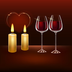 Two burning candles on a dark background, heart in the background. Two glasses with red wine.