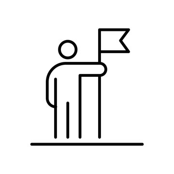 Man holding flag business people icon simple line flat illustration