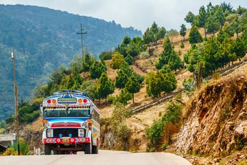 Zelfklevend Fotobehang Centraal-Amerika Landen Old school bus used as public transport by Todos Santos Cuchumatan in Guatemala
