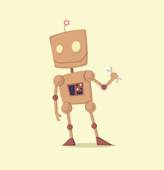Funny cartoon vector robot. Character illustration cartoon style. Design element