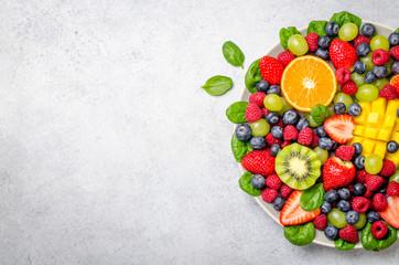 Fruit platter, top view Wall mural
