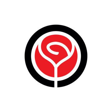 Red Vector Rose Flower Emblem. Clean and simple logo template.