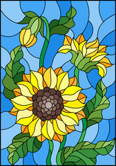 Illustration in stained glass style with a bouquet of sunflowers, flowers,buds and leaves of the flower on blue background