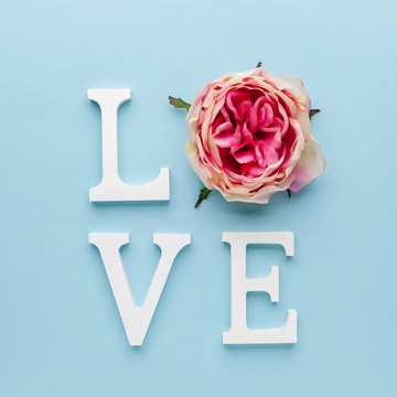 Valentines day concept with love letters on blue background