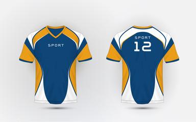 Blue, White and orange stripe pattern sport football kits, jersey, t-shirt design template