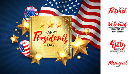 Universal illustration with a set of inscriptions for patriotic holidays in the USA. Presidents day, Independence day, Veterans day, Memorial day, 4 jule etc. Vector EPS10