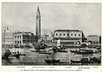 Piazzetta and Riva degli Schiavoni, Venice; by Canaletto, between 1730 and 1740(from Spamers Illustrierte  Weltgeschichte, 1894, 5[1], 483)